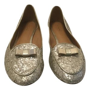 Coach Metal Bow Gold sparkly all leather Flats