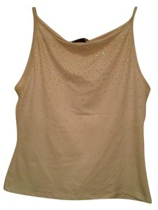New York & Company Embellished Glitter Fitted Nylon Sleeveless Top White