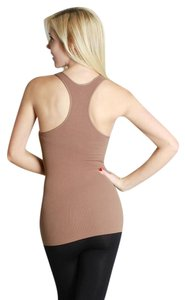 Nikibiki Ribbed Racerback Brown Seamless Top Taupe
