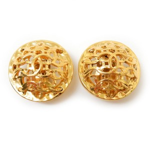 Chanel Chanel Vintage Gold Tone CC Logo Round Earrings