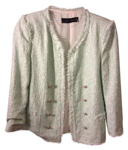Zara Seafoam Boucle Tweed Military Jacket