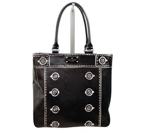Kate Spade Canvas Button Screen Print Tote in Black