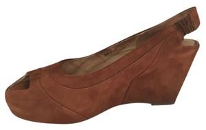 Miz Mooz Wedge Suede Peep Toe Camel Wedges