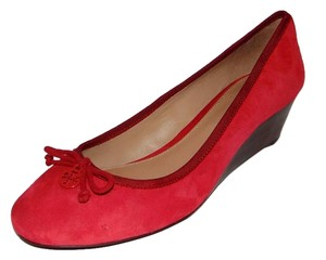 Tory Burch Chelsea Suede Wedge Logo Bow Red Pumps