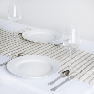 Ten Rustic Striped Burlap And Jute Table Runners