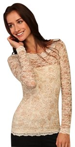 Free People Lace Romantic Sexy Long Sleeve Layering Piece Top Ivory