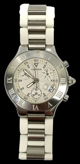 Preload https://img-static.tradesy.com/item/2017724/cartier-stainless-steel-and-white-rubber-38mm-must-21-chronoscaph-vintage-watch-0-0-540-540.jpg