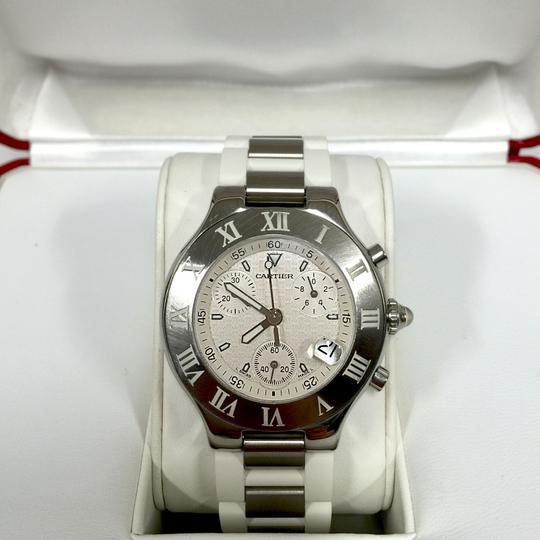 Cartier Cartier Stainless Steel & White 38MM Rubber Must 21 Chronoscaph Vintage Image 6