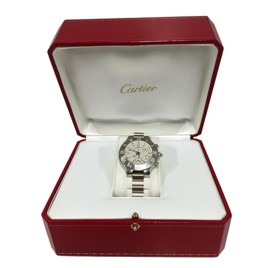 Cartier Cartier Stainless Steel & White 38MM Rubber Must 21 Chronoscaph Vintage Image 9
