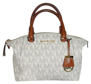 Michael Kors Signature Logo Satchel in vanilla