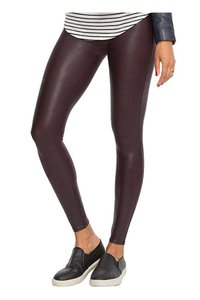 Spanx Leggings Leather Wine Leggings