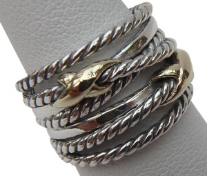 David Yurman like new with pouch Double X Ring With Gold size 6