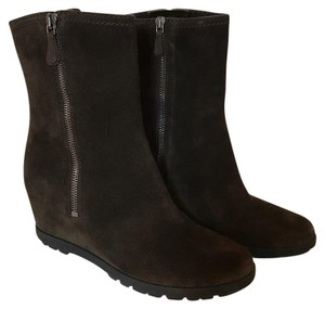 Prada Wedge Ankle Suede Chocolate Boots