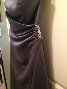 David's Bridal Pewter Satin Gown with Drape 8567 Formal Bridesmaid/Mob Dress Size 0 (XS)