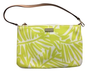 Kate Spade Lolly Grant Neon Wristlet in Green and White