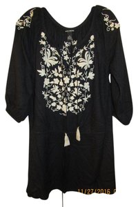 Lucky Brand short dress Black Beach Vacation Embroidered Tunic Top Cover Up on Tradesy