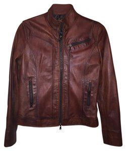 Vera Pelle Leather Vintage Italian Brown Leather Jacket