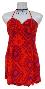 Material Girl Romper Bustier Coral Pattern Dress