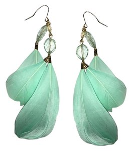 Forever 21 Forever21 Gold turquoise feather Drop Earrings