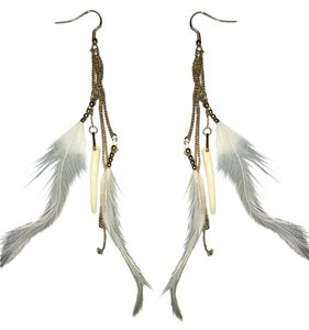 Forever 21 Forever21 Gold white feather Drop Earrings