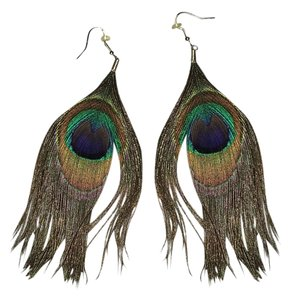 Forever 21 Women Earrings Set Brown/Green Peacock Feathers