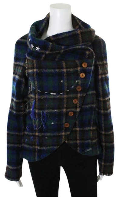 Item - Multi-color Wool Plaid Applique Patches Embroidery Jacket Size 8 (M)