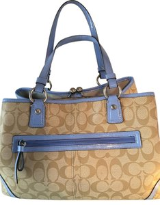 Coach Many Sections Vintage Satchel in BROWN AND BLUE