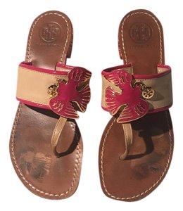 Tory Burch Gold Hardware Charm Pink Sandals