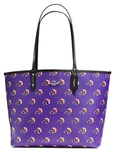 Coach Coated Canvas Tote in Purple & Black