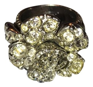 Chanel Camelia Flower Swarovski Crystal Silver Ring
