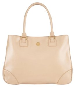 Tory Burch Saffiano Gold Hardware Robinson Reva Oversized Tote in Beige, Tan