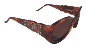 Judith Leiber Tortoise and Gray Rounded Hornrim Sun Glasses