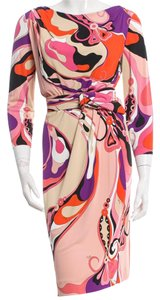 Emilio Pucci Longsleeve Gold Hardware Print Dress