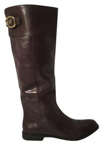 Coach Leather Buckle Gold Hardware Chestnut Boots