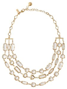 Kate Spade KATE SPADE DESERT STONE TRIPLE STRAND NECKLACE W BAG CLEAR GOLD $248
