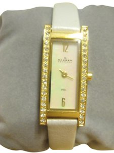Skagen Denmark Skagen Denmark - White Leather, Swarovski Crystal, Mother of Pearl