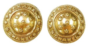 Chanel CHANEL Round Gold Plated CC Logo with stars Earrings