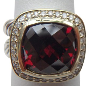David Yurman 11mm x 11mm Albion Ring with Garnet and Diamonds with 18K Gold size 6