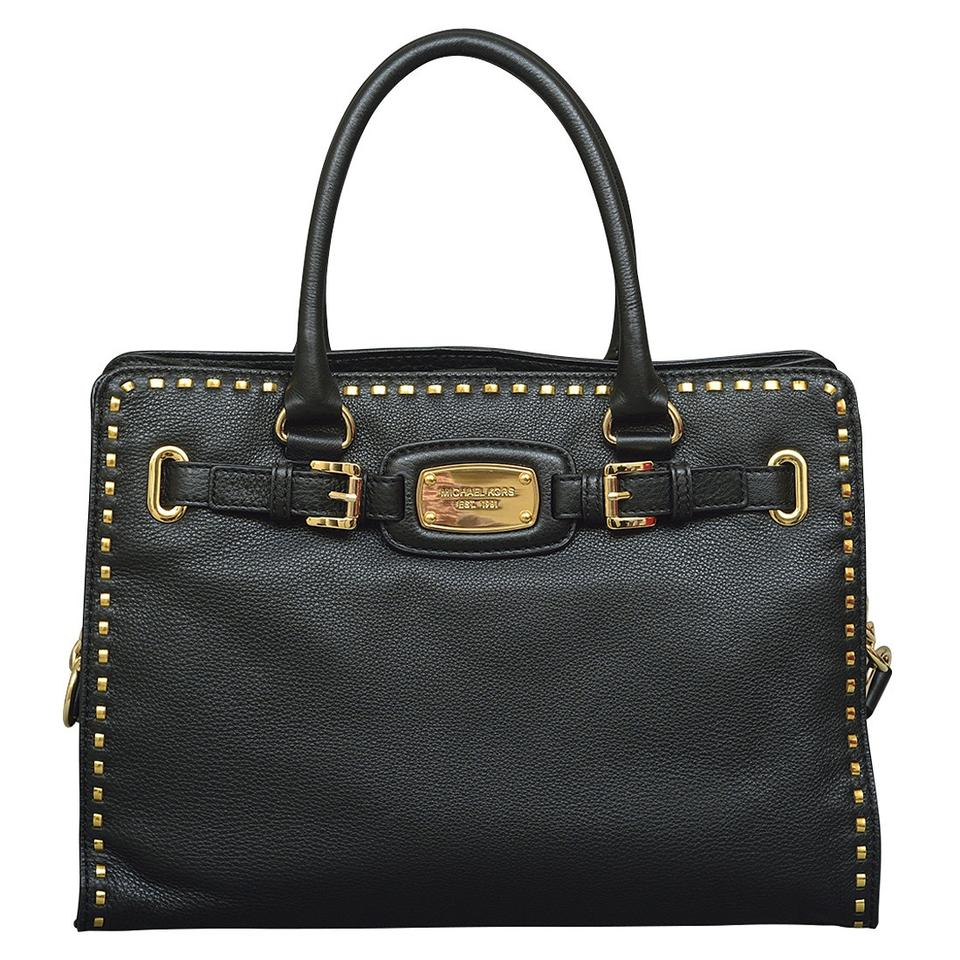 0697a864069b Michael Kors Hamilton Large Satchel Chained Whipped Stitched New with Tags  Black/Gold Hardware Leather Tote