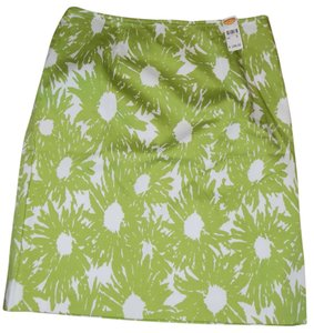 Talbots Bright Bold Pencil Classic Skirt Green and white
