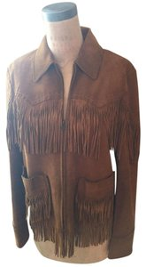 Ralph Lauren Blue Label Whiskey Brown Leather Jacket