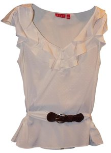 Elle Polka Dot Polished Belted Top White
