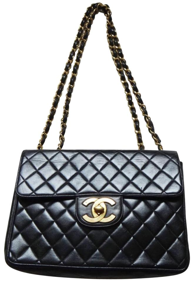 68fe202d2c2e Chanel Classic Flap Maxi Classic Double Chains Black Lambskin Shoulder Bag