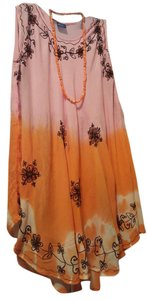 Pink orange with black embroidery Maxi Dress by NF Tie Dye Hippy Bohemian