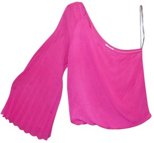 Mimi Chica Sheer One Shoulder Pleated Top Pink