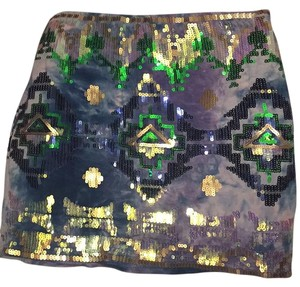 Hot & Delicious Mini Skirt Blue / Green / Gold