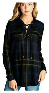 Other Lace Up Roll Sleeve Plaid Boho Loose Fit Tunic