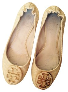 Tory Burch Designer Python Ballet Reva Ballet Summer Rubber Soles Gently Worn Durable Chic Stylish Traditional Cream White Flats