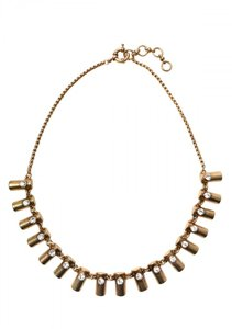 Other Gold Bar Pave Stone Statement Necklace
