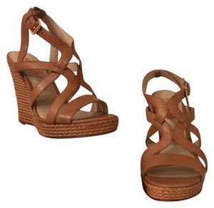Michael Kors Mk Kors Leather Wood Heels Tan Wedges